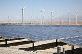 A Genuine Energy Farm in the Hot Arid Desert of Palm Springs California features Solar Panels and Wi