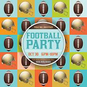 Football Pattern Party Invitation