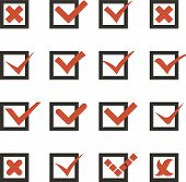 Check Marks Symbols Tick and Cross Icons Vector Template Illustration