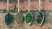 Colorful spices in vintage spoons - beautiful kitchen image.