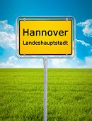 An image of the city sign of Hannover