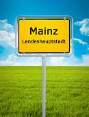 An image of the city sign of Mainz