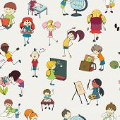 School kids doodle seamless pattern
