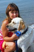 Girl Dog Portrait poster