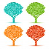 Set of Colorful Season Tree pixel icons