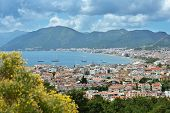 MARMARIS, TURKEY - MAY 1, 2014: Aerial view to the bay of Marmaris. Marmaris population increases 10