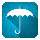 umbrella flat icon, christmas button, protection sign