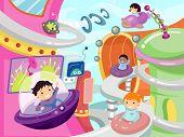 Illustration of Kids Driving Around a Futuristic City