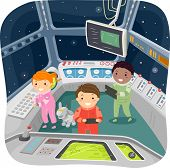 Illustration of Kids in a Spaceship Control Room