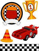 Illustration of Different Items Commonly Associated With Racing