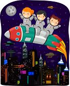 Cyberpunk Illustration of Kids in Spacesuits Riding a Space Rocket