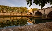 Ile Saint Louis And Pont Marie, River Seine Banks In Paris, France