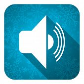 volume flat icon, christmas button, music sign