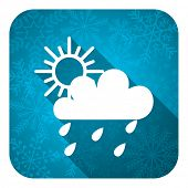 rain flat icon, christmas button, waether forecast sign