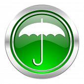 umbrella icon, green button, protection sign