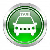 taxi icon, green button