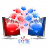 Two monitors. Virtual relationship  concept. Vector illustration.