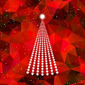 Abstract dot christmas tree with red background