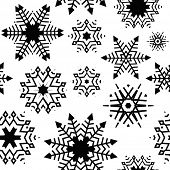 black and white seamless snowflake background
