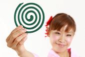 Japanese woman with mosquito coil