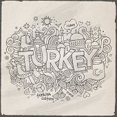 Turkey hand lettering and doodles elements background.