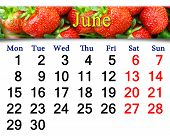 Calendar For The June Of 2015 Year With Strawberry