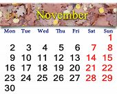 Calendar For November Of 2015 With Yellow Leaves