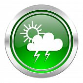 storm icon, green button, waether forecast sign