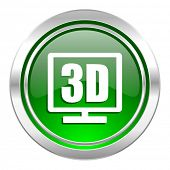 3d display icon, green button