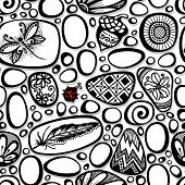 Vector Seamless Pattern Ornate Pebbles