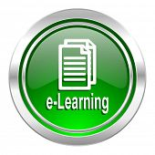 learning icon, green button