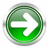 right arrow icon, green button, arrow sign