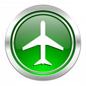 plane icon, green button, airport sign