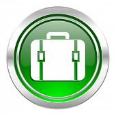 bag icon, green button, luggage sign