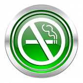 no smoking icon, green button