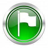 flag icon, green button