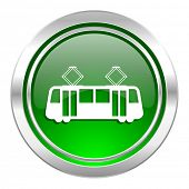 tram icon, green button, public transport sign