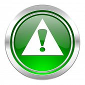 exclamation sign icon, green button, warning sign, alert symbol