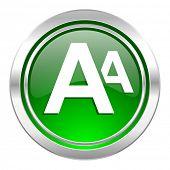 alphabet icon, green button