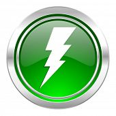 bolt icon, green button, flash sign