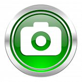 photo camera icon, green button, photography sign