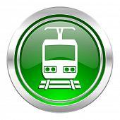 train icon, green button, public transport sign