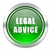 legal advice icon, green button, law sign