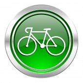 bicycle icon, green button, bike sign
