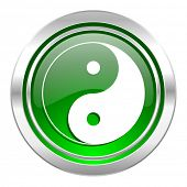 ying yang icon, green button