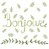 Bonjour french sign with nature leaf ornamen watercolor design arounf