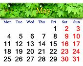 Calendar For May Of 2015 Year With Image Of Maple
