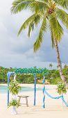 beautiful wedding arch, cabana, beach wedding, tropical wedding set up