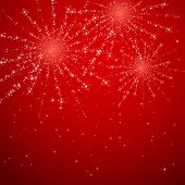 Fireworks On Red Shiny Background
