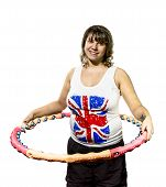 Complete Woman Posing With A Hoop,  On White Background